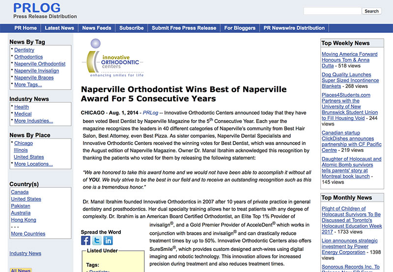 Press Release: Naperville Orthodontist Wins Best Of Naperville Award For 5 Consecutive Years